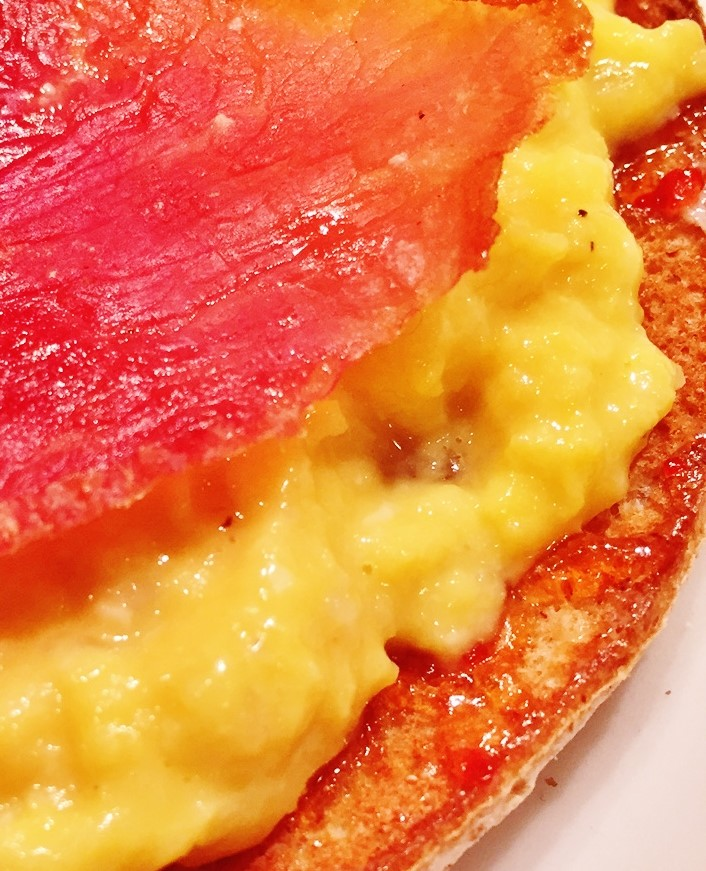 Country Ham And Scrambled Eggs: Miso Scrambled Eggs On Buttered Toast With Red Pepper